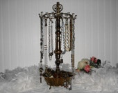 Large Vintage Jewelry Organizer Upcycled Antique Brass Lamp Necklace Stand Bracelet Display Jewelry Storage Earring Organizer