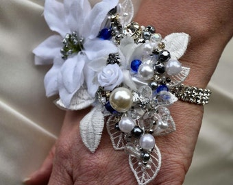Beaded and Flower Wrist Corsage