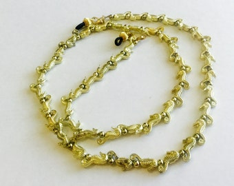 Gold Seahorses Beaded Eyeglass Chain-Necklace