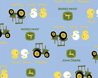 ON SALE!! John Deere - Duck Duck Tractor Fabric - Blue - sold by the 1/2 yard
