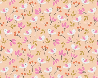 Spring Walk - Spring Birds Organic Fabric - Pink - Sold by the 1/2 Yard