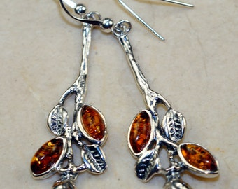 Cognac Baltic Amber  & 925 Sterling Silver Earrings by Silver Trend