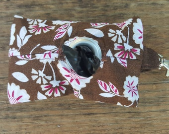 Brown and Pink Hawaiian Floral Doggie Waste Bag Dispenser Keychain
