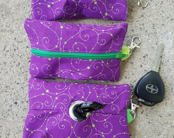 Purple with Green Swirls and Dots Doggie Waste Bag Dispenser Keychain