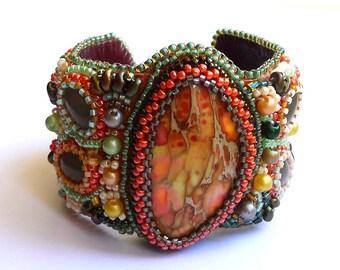Jasper embroidered orange and green Cuff Bracelet