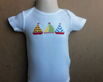 Baby Boy Sailboat Bodysuit, Baby Boy Sailing Outfit, Baby Boy Embroidered Bodysuit, Boat Onesie, Sailboat Outfit