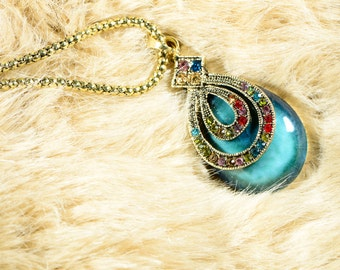 China crystal necklace crystal water drop blue stone colorful crystal china necklace crystal necklace colorful necklace