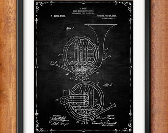 Patent Print French Horn Musical Instrument Musician Gift French Horn Poster Musician Music Decor Music Gifts for Musician Blueprint 1019