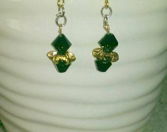 Black Bicone Crystal Earrings