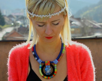 Statement Necklace, Multicolor Chunky Bib Textile Necklace Colorful Necklace Bib Necklace African Necklace Colorful Tribal Chunky Jewelry