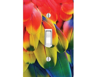 Light Switch Cover - Rainbow Bird Feathers single dual rocker outlet covers