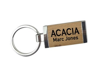 ACACIA Silver/Wood Rectangle Keychain
