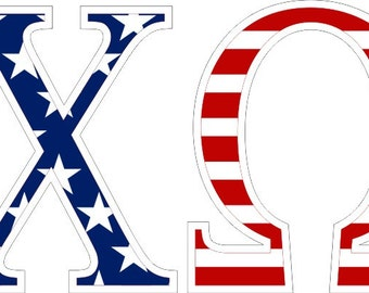 chi omega american flag greek letter sticker 25
