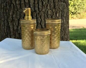 3-Piece Gold Mason Jar Bathroom Set