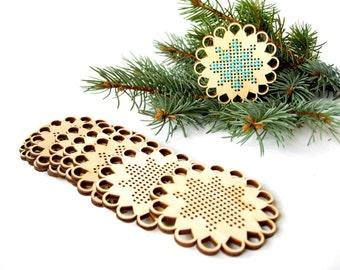 Christmas cross stitch, Snowflakes, Wooden cross stitch blank, unfinished wooden supply cross stitch, cross stitching, Christmas decor