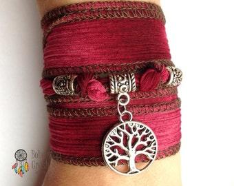 Tree of life Burgundy Bracelet
