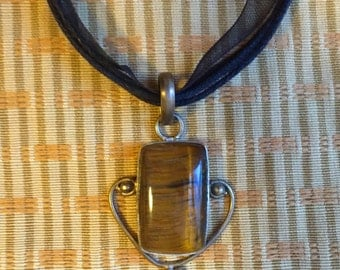 Vintage style 925 Tigers Eye Pendent on Black Ribbon Necklace.