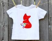 Kid Fox Shirt / Toddler Fox Shirt / Unisex Childrens Clothes / Fox Kid Clothes / Rainbow Shirt / Fox T-shirt for Kids Screenprinted T-Shirt