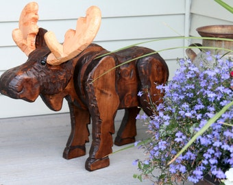 Rustic Wood Carved Moose, Rustic Decor, Moose Decor, Montana Moose Decoration, Wood Carving, Porch Decoration, Handmade Rustic Decor