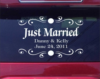 Personalized Just Married Car Decal