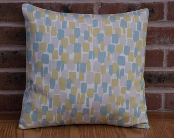 "Yellow and Duck Egg Blue Abstract Paint Effect Modern Decorative Pillow Cushion Cover 16"" / 40cm"