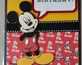 Handmade Mickey Mouse Birthday Card