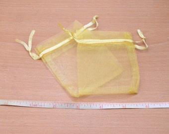 50 gold Drawstring bag craft,Wholesale small organza Bags.