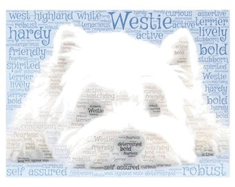 Westie West Highland Terrier dog unique personalised word art print A4