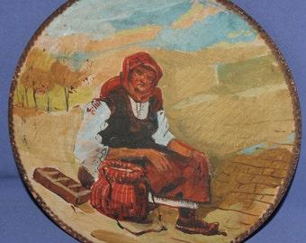 Vintage Impressionist Portrait Oil Painting Old Woman With Folk Dress