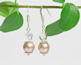 Swarovski pearl earrings, sterling silver 925 bridal jewelry, bridesmaid shiny elegant earrings, handmade jewelry