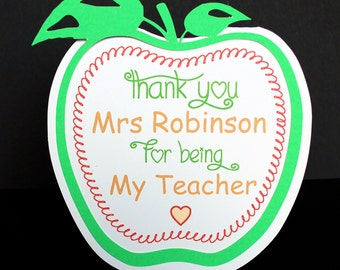Personalised-THANK-YOU-CARD-Teacher-Apple-Nursery-Teacher-Primary-School-Leavers  Pupil