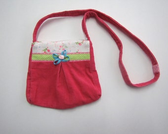 Pink corduroy bag, girl bag, girl accessories