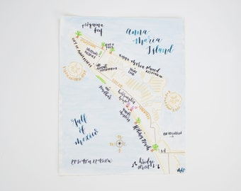 Hand Painted Watercolor Map - Anna Maria Island