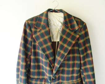 Mens Vintage Plaid Suit Coat / Plaid Blazer