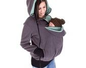 Baby Carrying Jacket, baby carrier coat, hoodie, 3in1, mother and baby, pregnancy, fleece, anthracite + mint green with dots, TRIO
