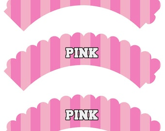 Victorias Secret Pink Inspired Cupcake Wrappers