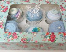 The Cupcake Box- New Baby Gift for a Boy. Bodysuit, bandana bib, socks, facecloth, comforter toy.