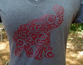 Elephant Paisley, Roll Tide, Alabama, Women's V-neck T Shirts