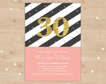 Gold glitter 30th Birthday Invitation // Peach and black and white stripe with gold glitter // Classic and sophisticated! Peach confetti