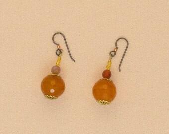 carnelian ball earrings