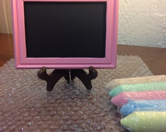 Pink 3x5 chalkboard with chalk!