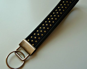 Gold pindot on black leatherette keyring, wrist strap for keys, keychain