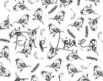 Bird printable cardstock paper, digital stamps, Digital bird clip art, Scrapbooking stamps, DIY kit, Printable paper