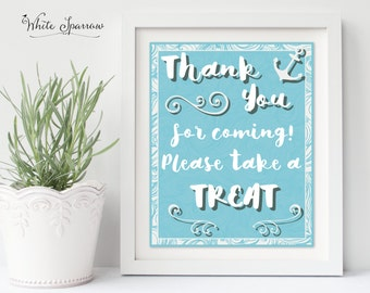 Baby Shower. Baby shower decorations. Nautical Baby Shower Sign. Baby shower sign. Boy Baby Shower. Thank you Sign. Please take a treat sign