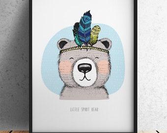 A3 Size Nursery Print - Little Spirit Bear (Unframed)