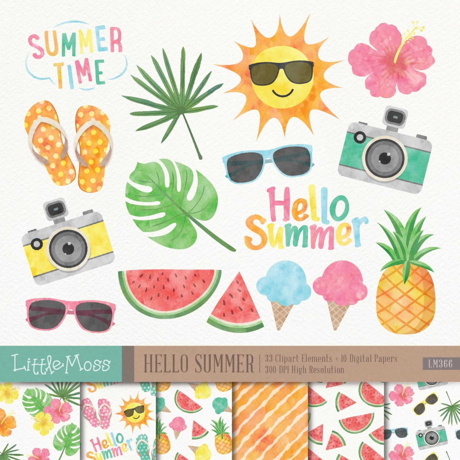 Summer Digital Clipart and Papers Watercolor Summer Clipart