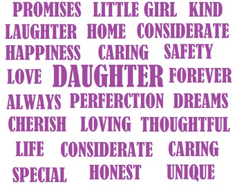 Daughter- Mum-Sister -Aunt-Any Wording Glass frame Typography Print keepsake-Gift Any Occasion Home Decor.