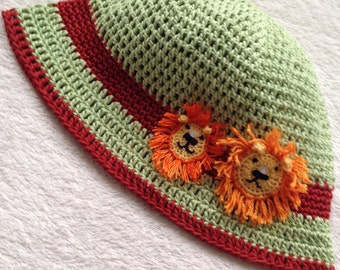 Hand made, crocheted and unique boys sun hat, made with 100% cotton   yarn.