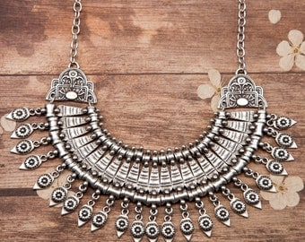Boho Statement Necklace Silver plated Pewter Antiqued Festival Find