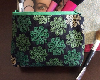 Zippered Cosmetic Bag--Shamrocks